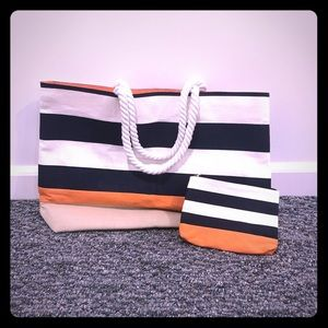 NEW Striped tote bag and matching zippered pouch